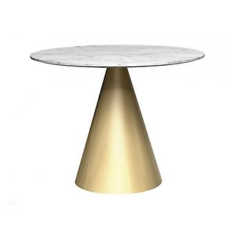 Gillmore Round Marble Dining Table With Conical Brass Base
