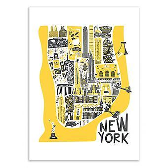 Art-Poster-New York kaart-Fox en Velvet 50 x 70 cm