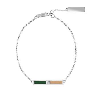 Ohio University Sterling Silver Diamond Bar Chain Bracelet In Green and Brown