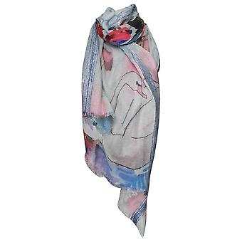 Ombre Shimmer Accents & Swan Detail Scarf