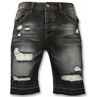 Shorts - Slim Fit Ripped Shorts - Black