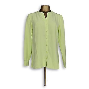 スーザン・グラバー・ウーマン&アポス;sトップストレッチ織りボタンフロントYネックグリーンA275207