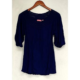 Ava Rose Lattice Embellished 3/4 Sleeve Knit Tee Blue Top Womens #2