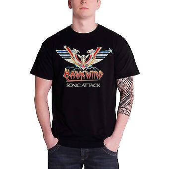 Hawkwind Mens T Shirt Black Sonic Attack band logo Official