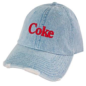 Coca-Cola Cola Distressed Licht Denim verstellbare Hut