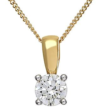 Naava Necklace with Pendant in Yellow Gold 9K with Diamond 0.50ct