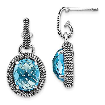 925 Sterling Silver With 14k Antiqued Blue Topaz Post Dangle Earrings Jewelry Gifts for Women