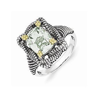 925 Sterling Zilver met 14k Green Amethisst Ring Sieraden Geschenken voor vrouwen - Ring Size: 6 tot 8