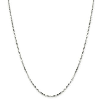 925 Sterling Silver Polished Spring Ring 2mm 8 Side Sparkle-Cut Cable Chain Necklace - Length: 16 to 30