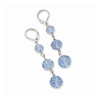 Tono plata Leverback azul cristal perla lineal larga gota colgante pendientes regalos de joyería para las mujeres