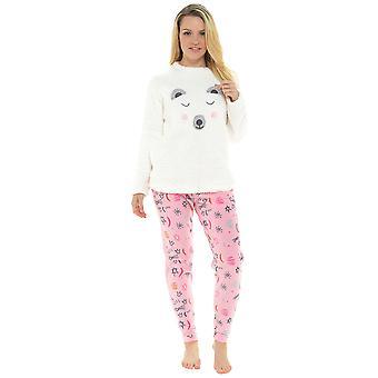Ladies Polar Bear Design Coral Fleece Top Twosie Pyjama Set Sleepwear