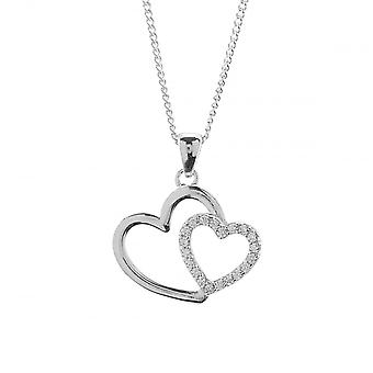 Eternity Sterling Silver Cubic Zirconia Double Heart Pendant And 18'' Chain