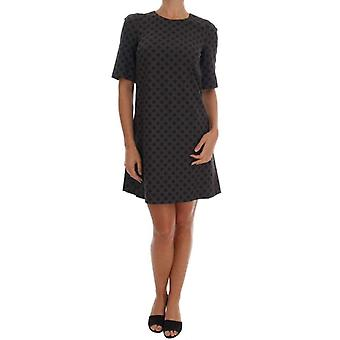 Dolce & Gabbana Gray Polka Dotted Wool Stretch Dress -- DR12362736