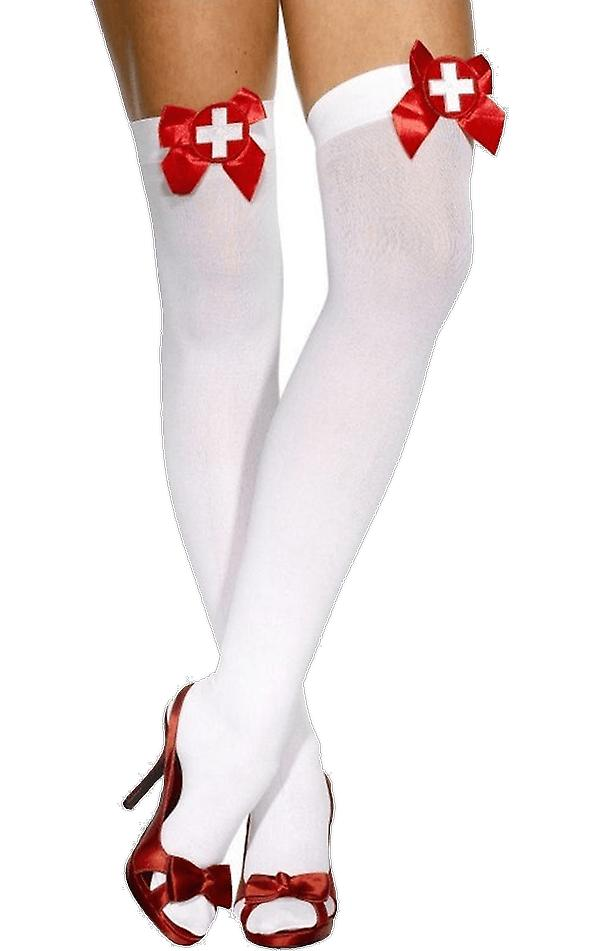 Adult Nurse Costume Thigh High Stockings With Red Bows