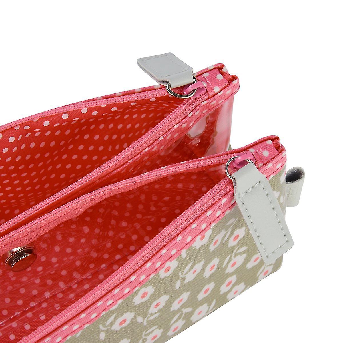 'victoria green' folding makeup bag - daisy sage