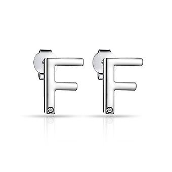 Initial earrings letter f created with swarovski® crystals
