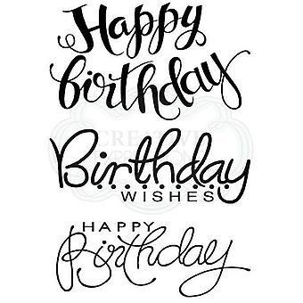 Woodware Clear Stamp Set Big Birthday Word Sentiments | Set of 3