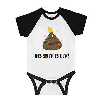Dis Shit Is Lit Poop Funny BKWT Baby Baseball Bodysuit X-mas Gift
