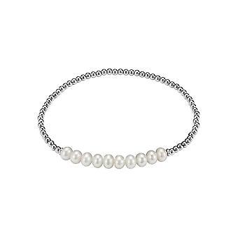 Adriana gumowa srebrna bransoletka 925 rhod. 10 Słodkowodne białe 5-6mm Romantica A126