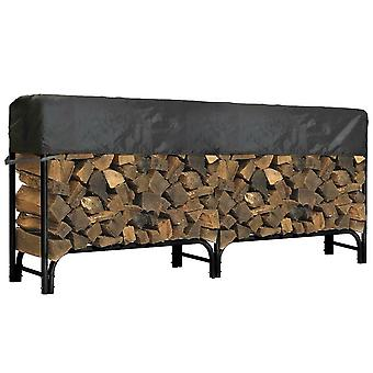 "Outdoor Firewood Log Rack Cover - 97""L x 24""W x 20""H - Short Top Cover - UV Protected, and Weather Resistant Storage Cover - Black"