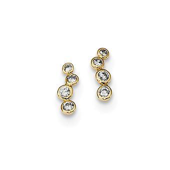 14k Madi K 4 CZ Cubic Zirconia Simulated Diamond Bezel Set Post Earrings Measures 10x3.5mm Wide Jewelry Gifts for Women