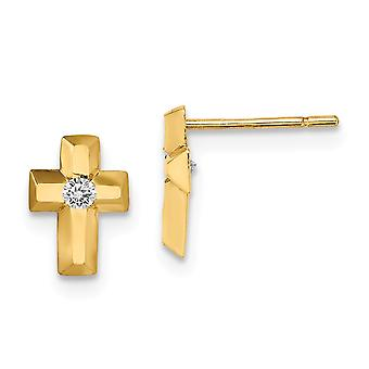 14k Madi K CZ Cubic Zirconia Simulated Diamond Religious Faith Cross Post Earrings Jewelry Gifts for Women