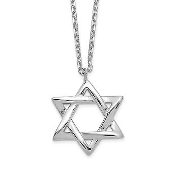 925 Sterling Silver Rhodium plated Polished Religious Judaica Star of David With 1inch Ext. Necklace 15 Inch