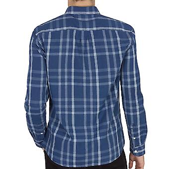 Wrangler Mens Button Down Lange Mouw Casual Checked Shirt Top - Blue Topaz