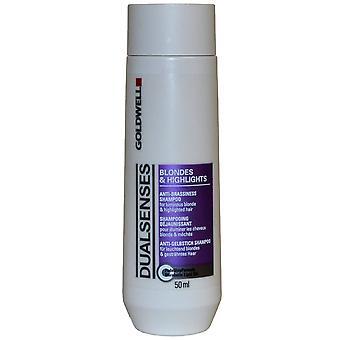 Dual zintuigen door Goldwell Anti Brassiness Shampoo 50ml blondjes & hoogtepunten