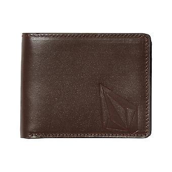 Volcom Straight Leather Wallet in Brown