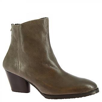 Leonardo Sko Kvinner's håndlagde hæler ankelstøvletter grå kalv skinn tilbake zip
