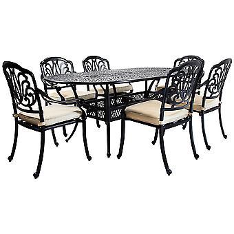 Charles Bentley Premium Meble Odlewane Aluminium 7 Piece Outdoor Dining Set