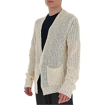 Laneus Cdu304cc2panna Men's White Cotton Cardigan