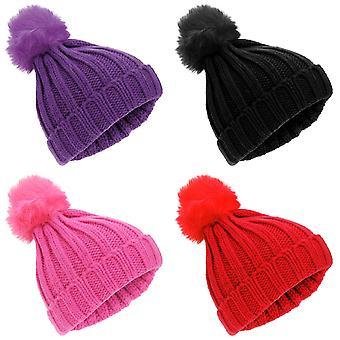 كبل روكجوك الفتيات الأطفال حك فو الفراء بوم بوم القبعة الشتوية قبعة صغيرة