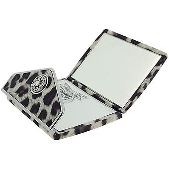 FMG 5x Magnification Compact Mirror Leopard Print Black High Gloss Envelope Made With Swarovski Crystals SC1024