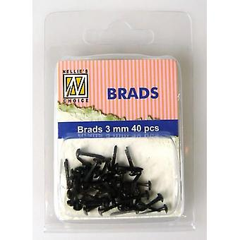 Nellie's Choice Floral brads Negro 3mm 40 PC FLP-BR-010