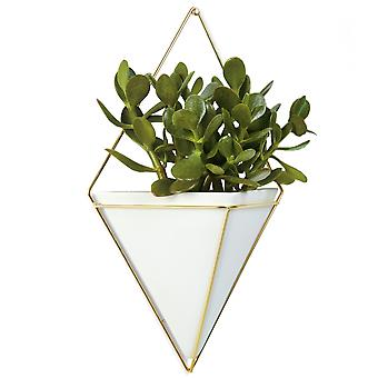 Umbra Trigg Large Wall Vessel, White & Brass