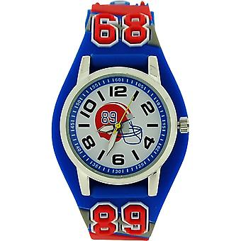 Ravel Boys - Kids American 3D Football Watch With Blue White & Red Strap R1521.6