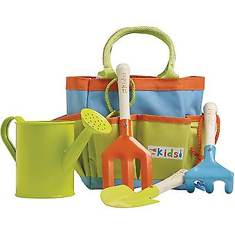 Children's/Kids Gardening Outdoor Tool Kit Set Rake Fork Spade Watering Can Bag