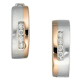 Hoop øreringe runde 585 guld hvid guld rød guld bicolor del mat 8 diamant øreringe