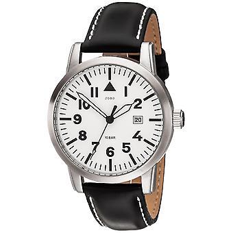 JOBO Herren Armbanduhr Quarz Analog Edelstahl Lederband schwarzHerrenuhr Datum