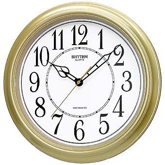 Rhythm 7269/9 Wall clock Quartz analog golden round with melody