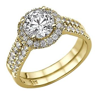 1.8 carat D SI2 Diamond Engagement Ring 14K Halo or jaune Double tige ronde
