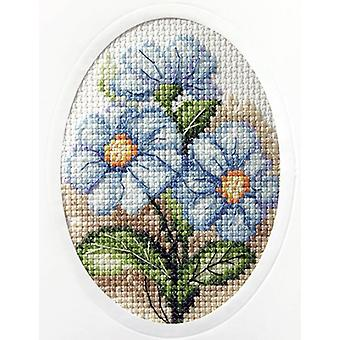 Orchidea Cross Stitch Card Kit - Blue Flowers