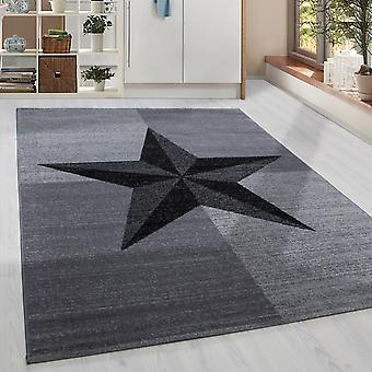 ShortFloral Diseño Alfombra Estrella Patrón Sala de estar Brújula Rosa Gris Negro Melted