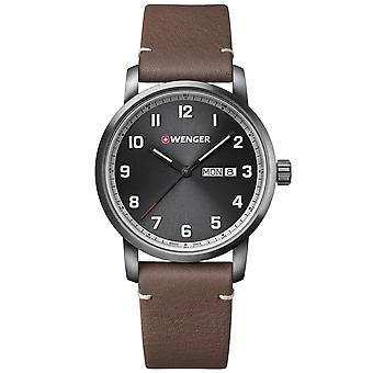 Wenger Attitude Heritage Quartz Black Dial Brown Leather Strap Men's Watch 01.1541.122 RRP £165