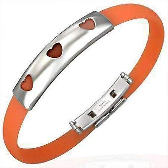 Orange band silicone bracelet with stainless steel cut out designs ~ choose your design