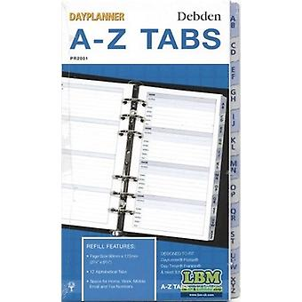 Collins Personal size A-Z Tab Index Divider Insert Refill PR2001