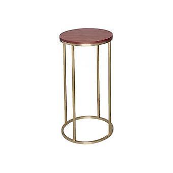 Gillmore Walnut en Gold Metal Hedendaagse ronde lamp tafel