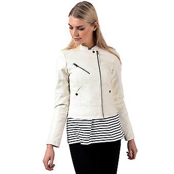 Women's Vero Moda Nora Favo Faux Leather Jacket in White